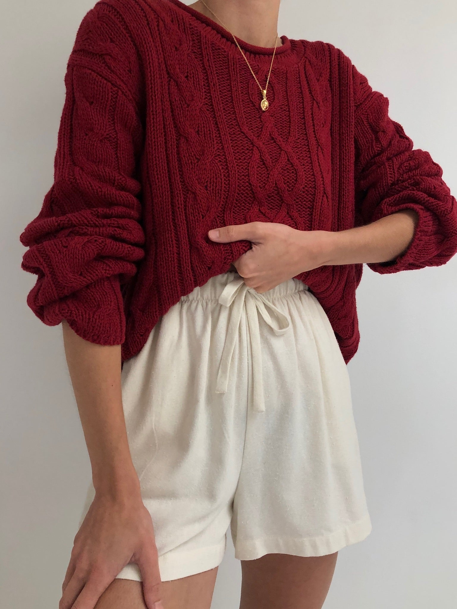 Vintage Cranberry Patterned Knit Sweater