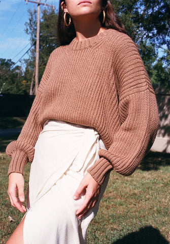 First Rite Crop Crew Sweater / Camel