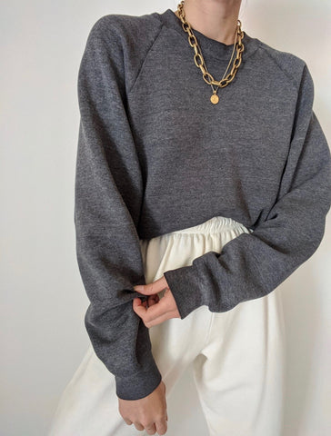 Vintage Charcoal Raglan Stitch Pullover