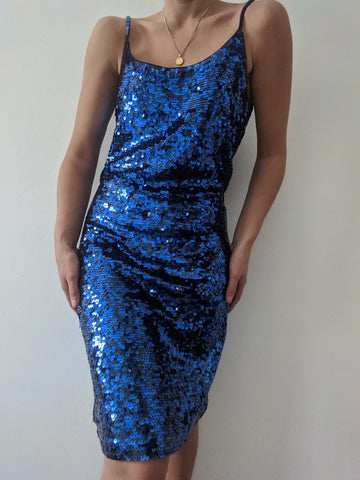 Vintage Cobalt Sequined Dress