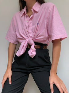 Ralph Lauren Cotton Blush Striped Short Sleeve Button Up
