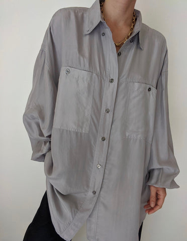 Vintage Slate Grey Silk Button Up