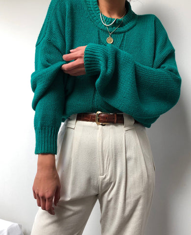 Vintage Emerald Cotton Blend Woven Sweater