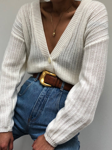 Vintage Cream Knit Cardigan