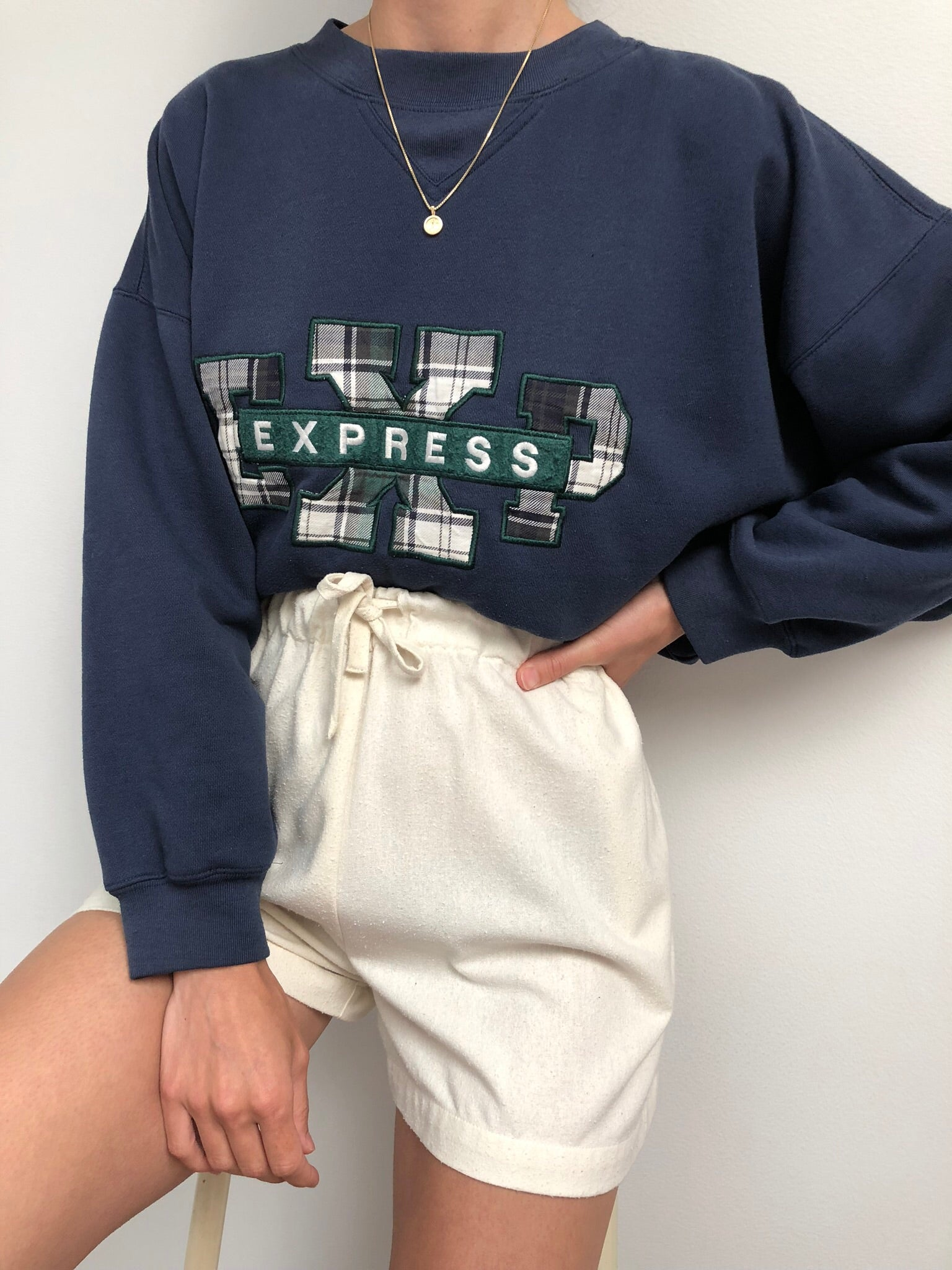 Vintage Navy Plaid Express Pullover