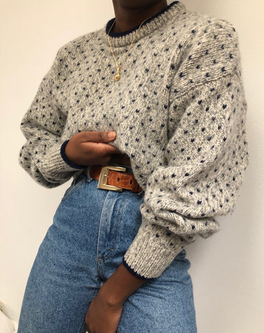 Vintage Grey Wool Patterned Knit