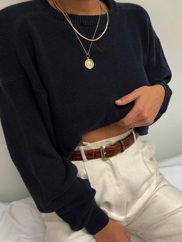 Vintage Navy Cotton Knit Pullover