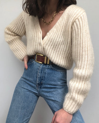 Vintage Cream Ribbed Mohair Cardigan
