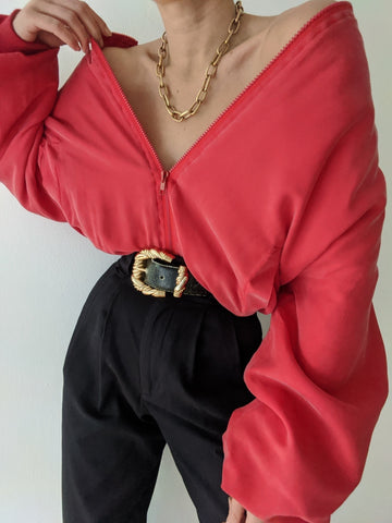 Vintage Faded Cherry Silk Bomber Jacket