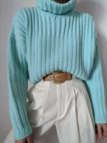 Vintage Aqua Knit Turtleneck