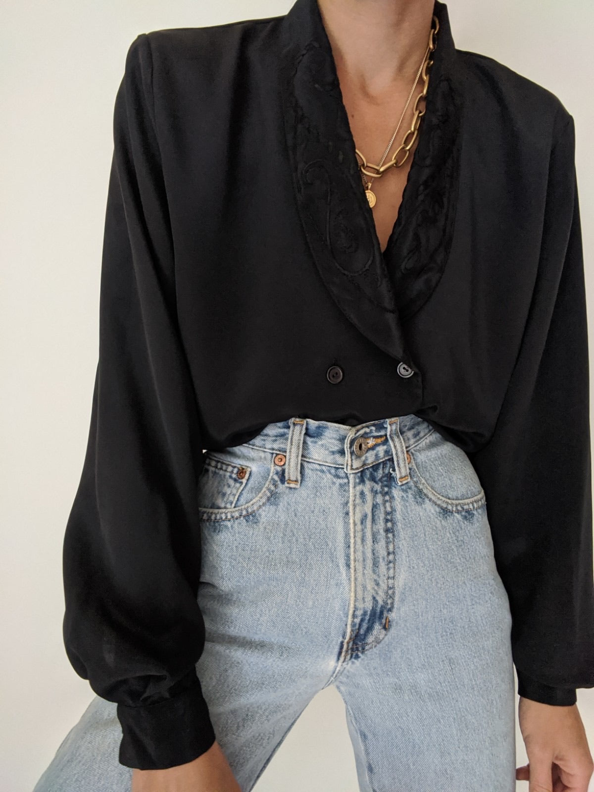 Vintage Black Embroidered Collar Blouse