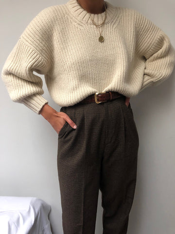 Vintage Micro Houndstooth High Waisted Trousers