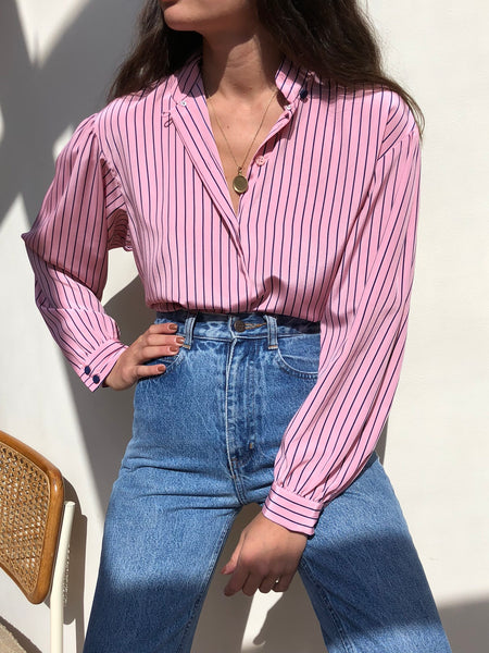 Vintage Pink And Navy Striped Blouse