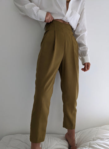 Vintage Camel Pleated Trousers