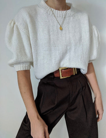 Vintage Winter White Knit Top
