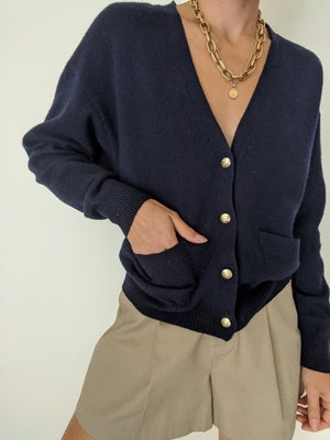 Vintage Navy Lambswool Knit Cardigan