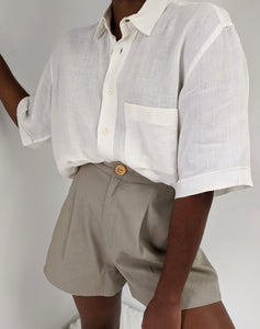 Vintage Italian Linen Short Sleeve Button up