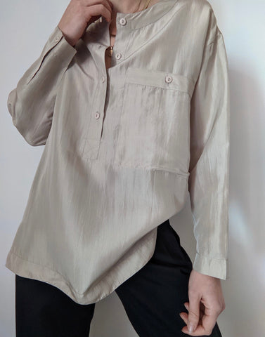 Vintage Pale Taupe Silk Henley