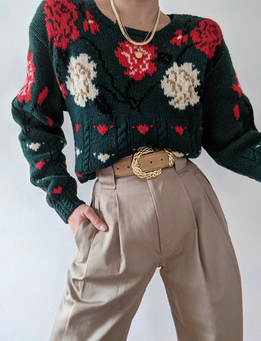 Vintage Floral Patterned Wool Knit Sweater