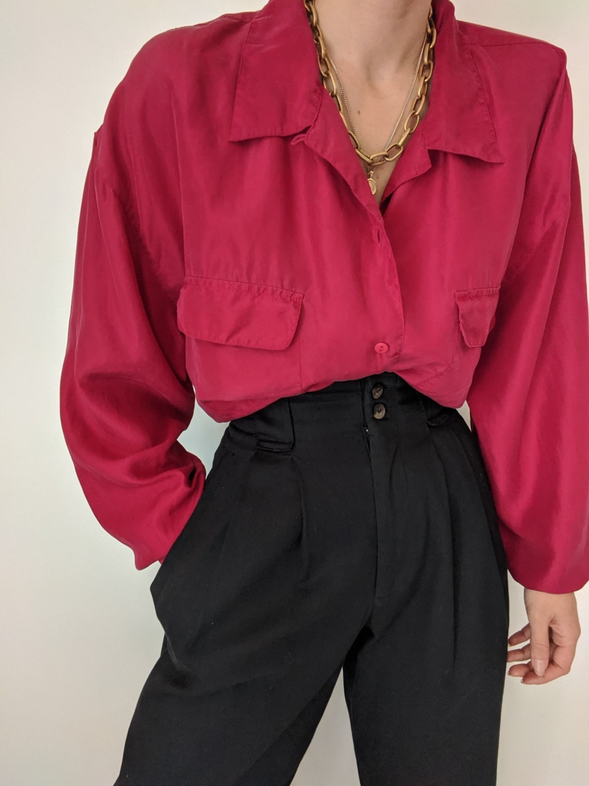 Vintage Berry Silk Pocket Button Up