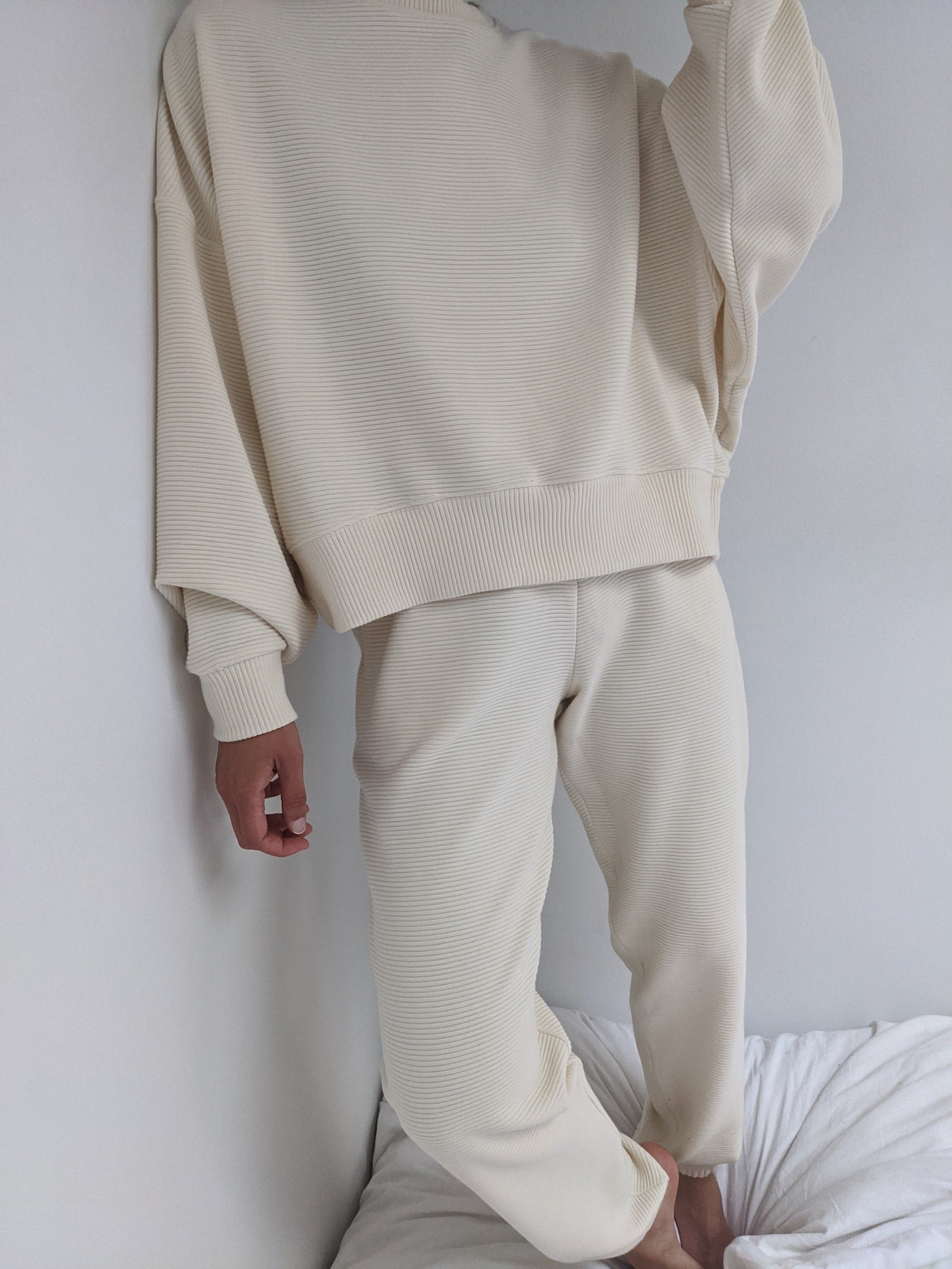 Na Nin Franklin Rippled Cotton Sweatpants / Available in Cream & Faded Black