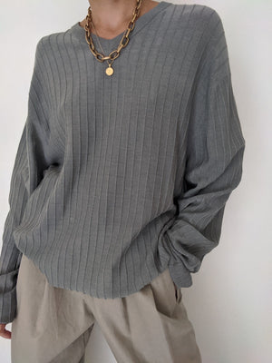 Vintage Slate Grey Fine Knit Silk