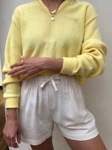 Vintage Lemon V-Neck Knit Pullover