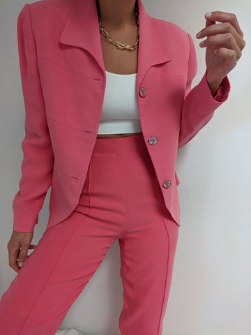 Vintage Bubble Gum Pink Silk Suit