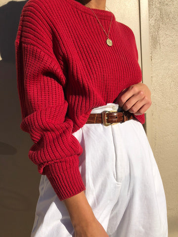 Vintage Faded Red Eyelet Knit Pullover