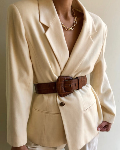 Vintage Vanilla Wool Blazer / Vintage Leather Embossed Belt