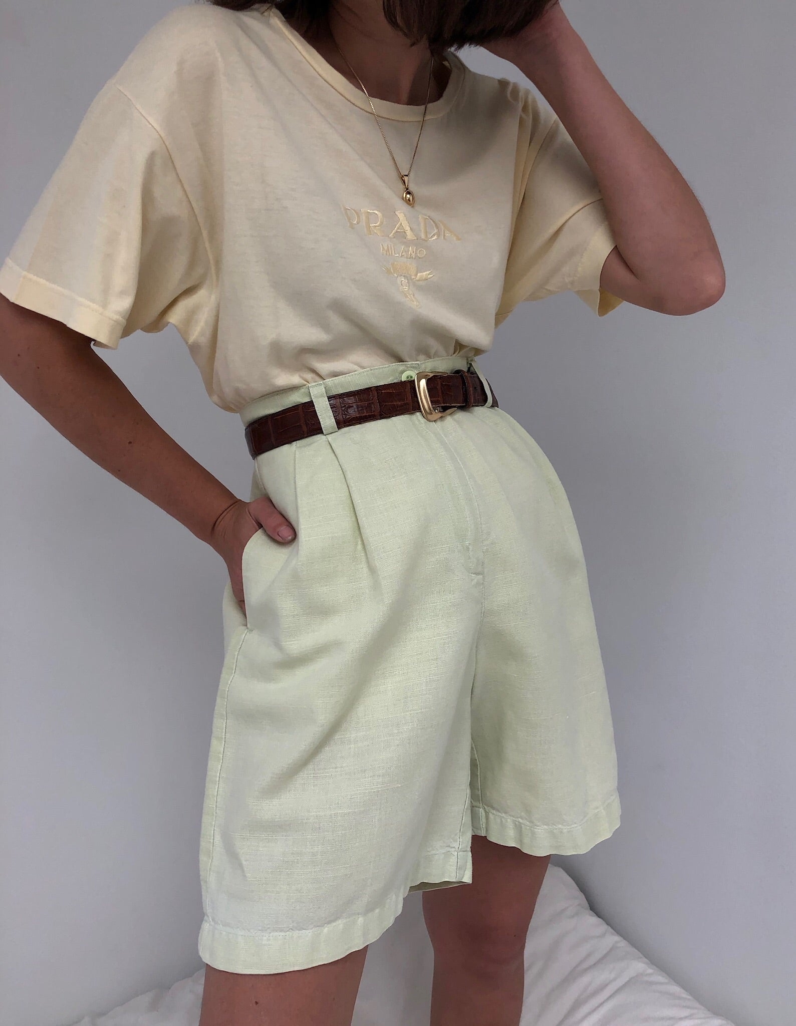 Vintage Faded Lime Pleated Shorts