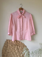 Vintage Ballet Pink Patterned Tie Blouse