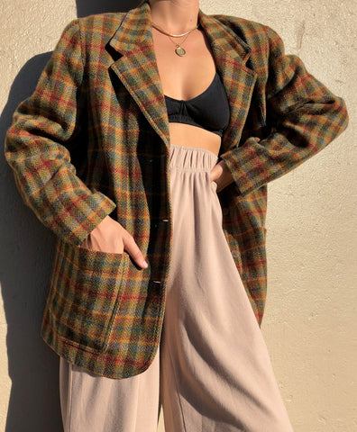 Vintage Wool Multi-Color Plaid Blazer