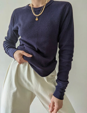 Vintage Navy Woven Thermal Top