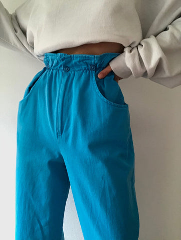 Vintage Favorite Blue Paper Bag Trousers