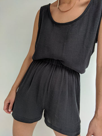 Na Nin Marni Waffled Cotton Tank / Available in White and Faded Black