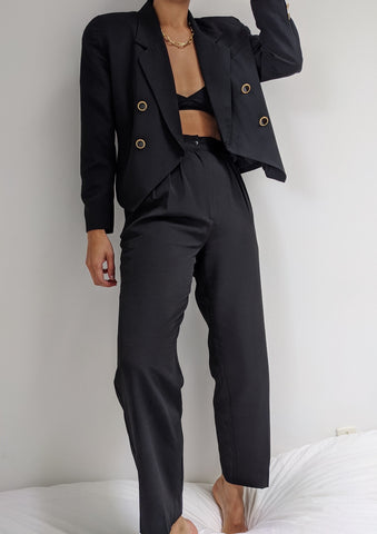 Vintage Onyx Cropped Blazer Suit