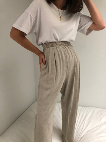 Vintage Ecru Pleated Easy Pants