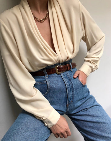 Vintage Buttercream Drape Blouse