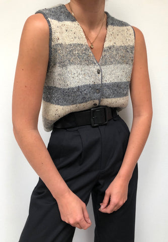 Vintage Wool Striped Knit Vest
