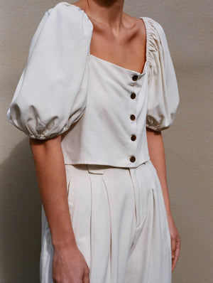 Na Nin Raw Silk Fiona Top / Available in Cream & Black