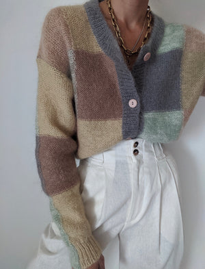 Vintage Mohair Pastel Checkered Cardigan