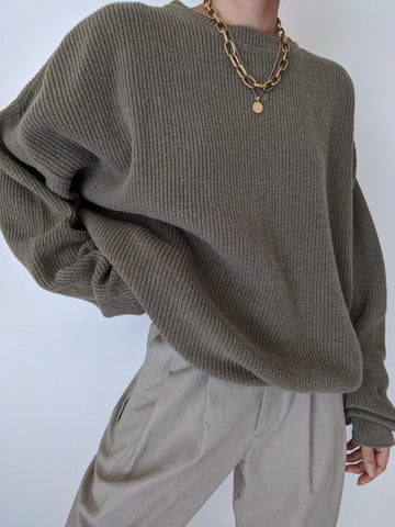 Vintage Faded Moss Ribbed Pullover