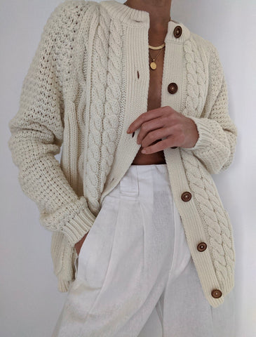 Vintage Buttercream Knit Cardigan