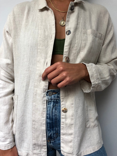 Vintage Sand Linen Button Up Jacket