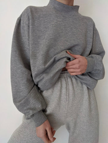 Vintage Heather Grey Mock Neck Sweatshirt