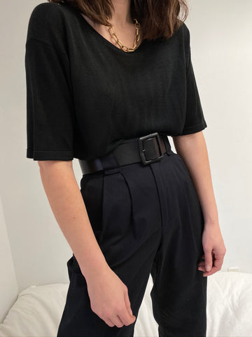 Vintage Onyx Sheer Knit Silk Tee