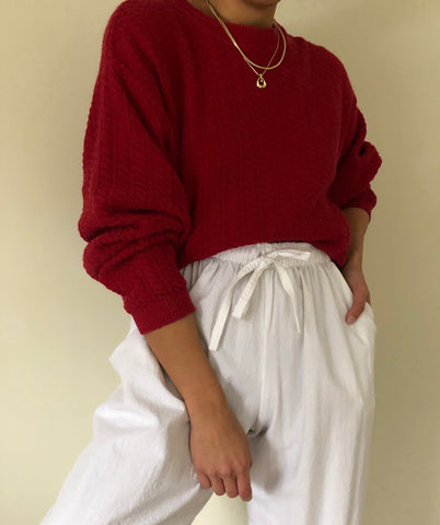 Vintage Deep Raspberry Cotton Knit Sweater