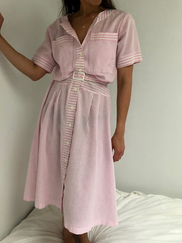 Vintage Bubblegum Striped Button Up Dress