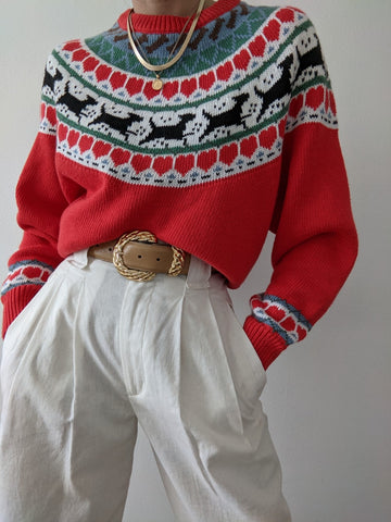 Vintage Dog Graphic Knit Sweater